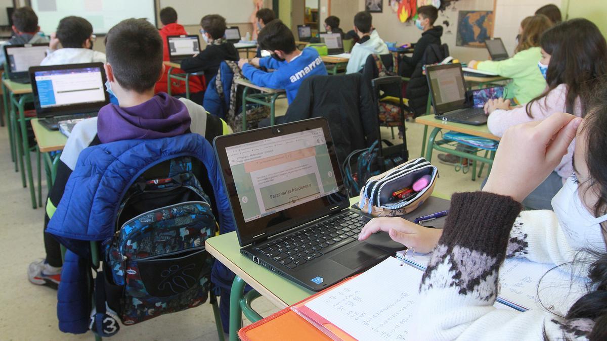 Alumnos de un colegio gallego.