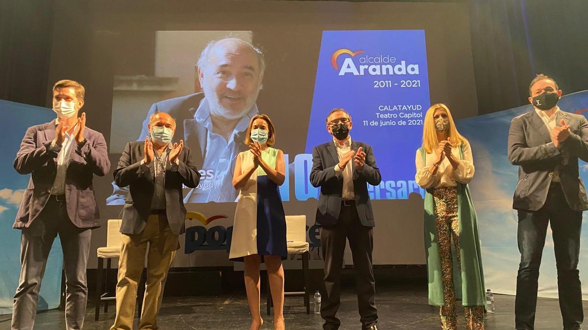Celma, Aranda, Gamarra, Beamonte, Vaquero y Arrechea, en el acto de celebración de la década de Aranda como alcalde de Calatayud.
