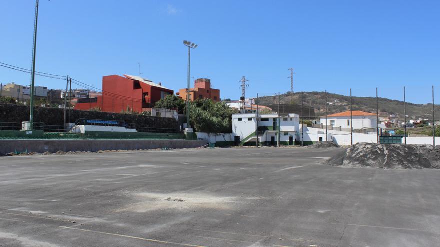 Avanzan las obras de renovación en el campo de fútbol García Hernández de la Villa de Moya