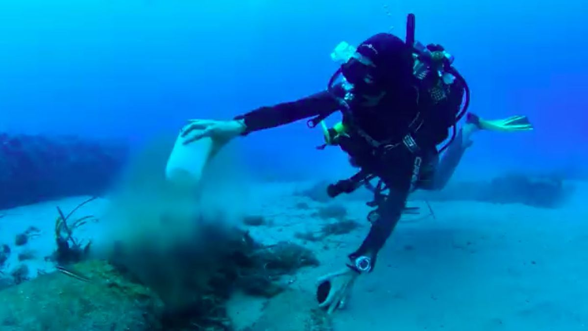 Taucher des Gob nehmen Wasserproben in der Bucht von Port de Sóller.