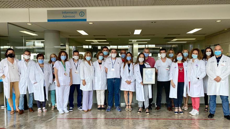 El Servicio de Admisión del Hospital de Alzira ha sido galardonado con la certificación de calidad