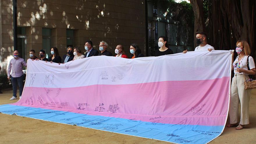 Firman la bandera trans en defensa de la ley estatal