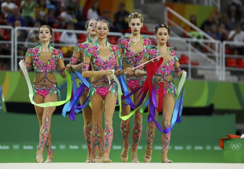 Final de gimnasia rítmica. En la imagen el equipo ruso.