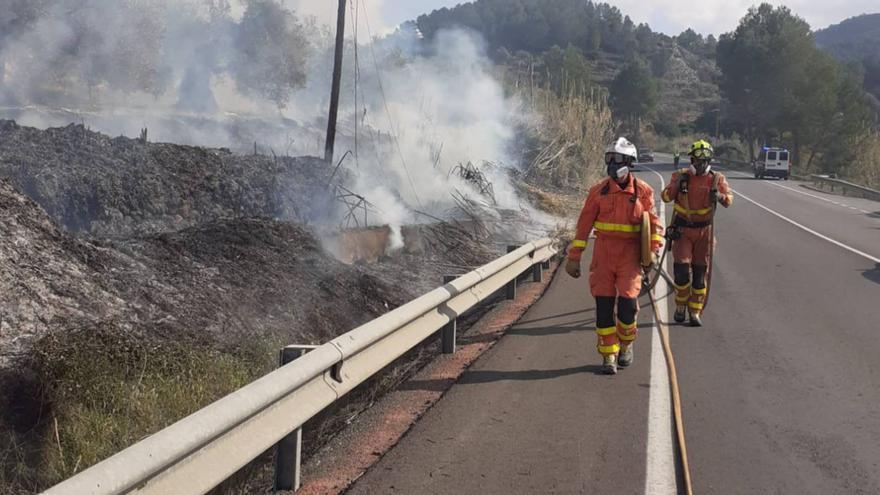 Extinguen un incendio en un cañar junto a la carretera que une Xàtiva y Genovés
