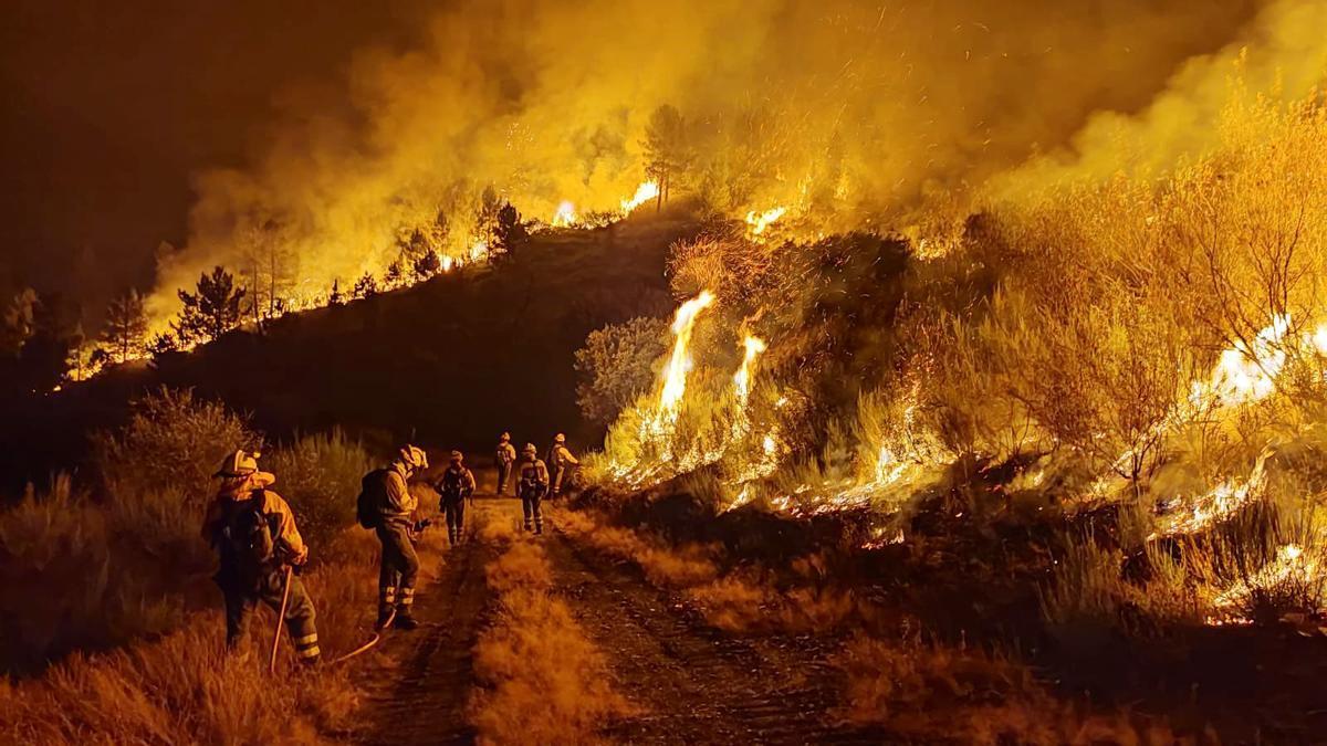 Un equipo de bomberos forestales en el incendio de Carballeda de Valdeorras