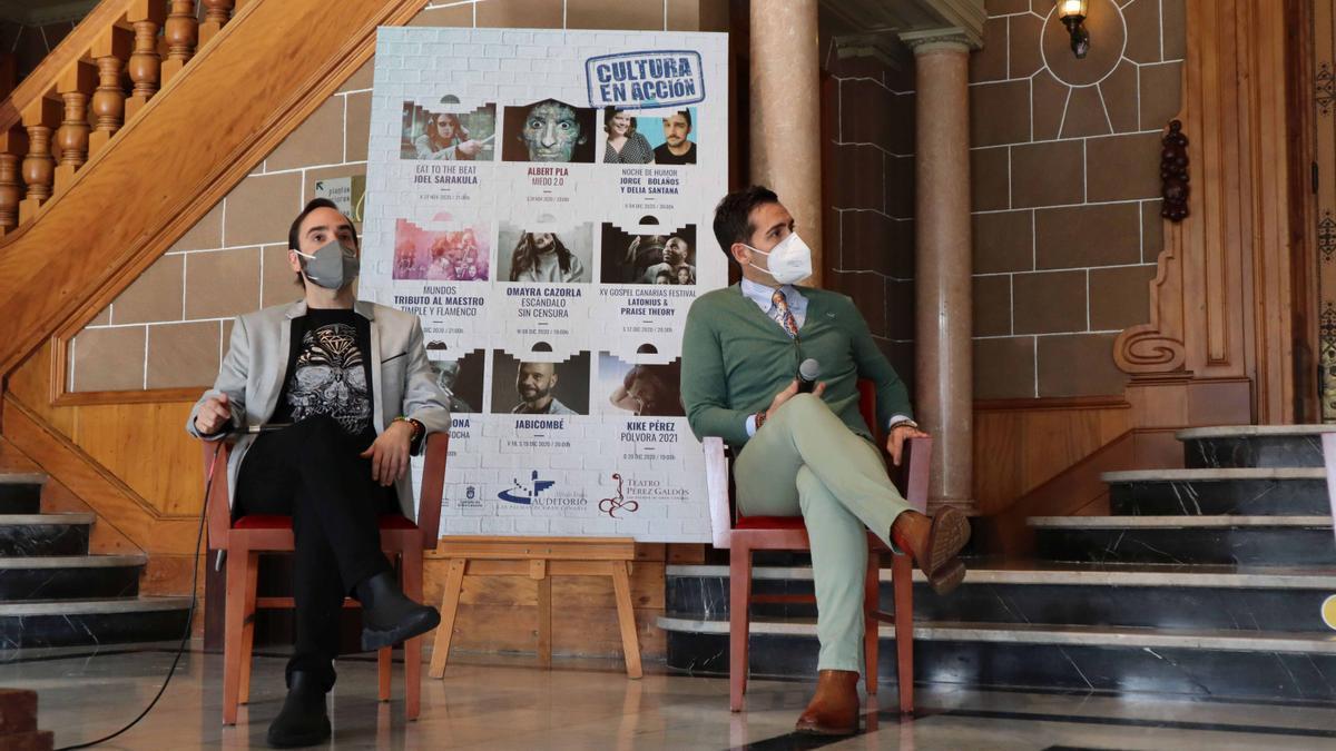 Rubén Fernández Aguirre e Ismael Jordi durante la presentación del concierto homenaje a Alfredo Kraus