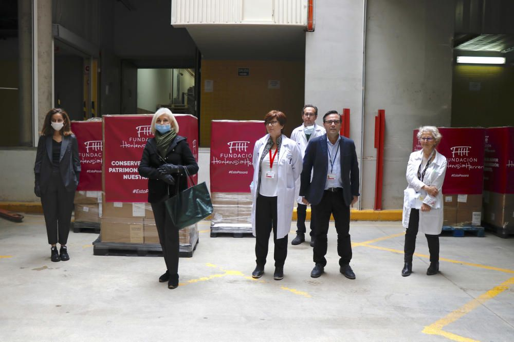 Hortensia Herrero entrega un millón de mascarillas a los hospitales valencianos