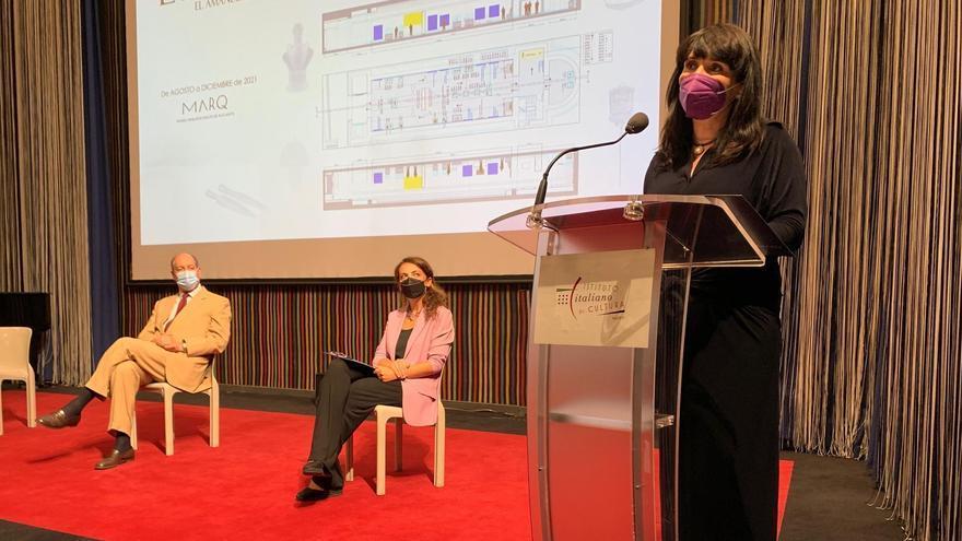 La diputada Julia Parra, durante su intervención en la presentación en Madrid.