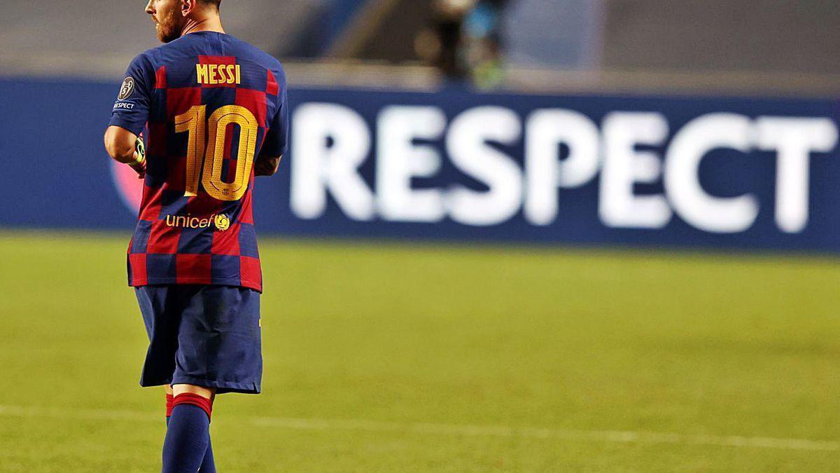 Messi, durante el partido ante el Bayern en Lisboa.
