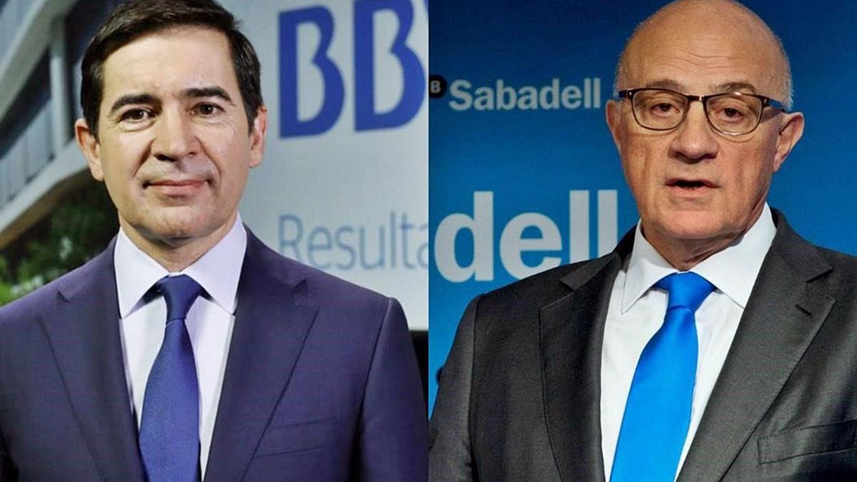 Carlos Torres y Josep Oliu, presidentes del BBVA y de Banc Sabadell, respectivamente. | LEVANTE-EMV