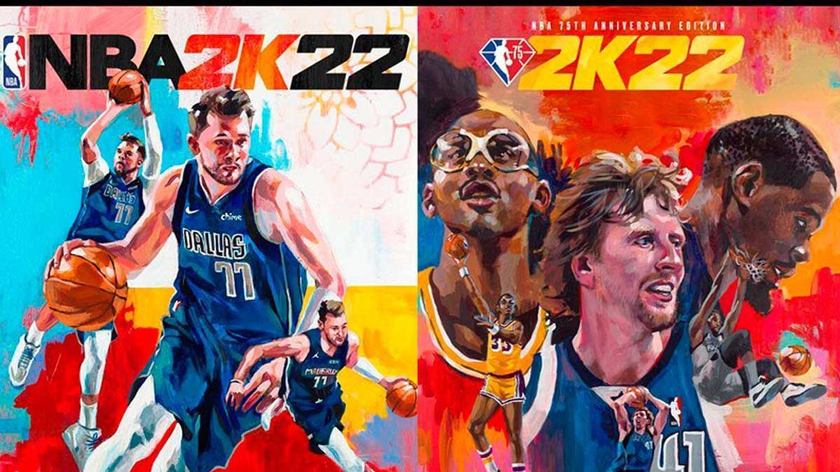 Dos e la portadas de las nuevas versiones de NBA 2K22.