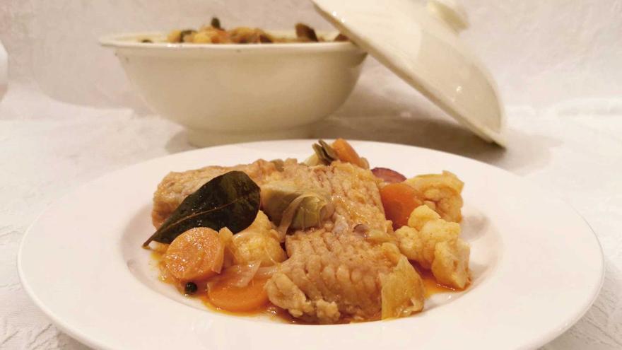 Escabetx de peix amb verdura