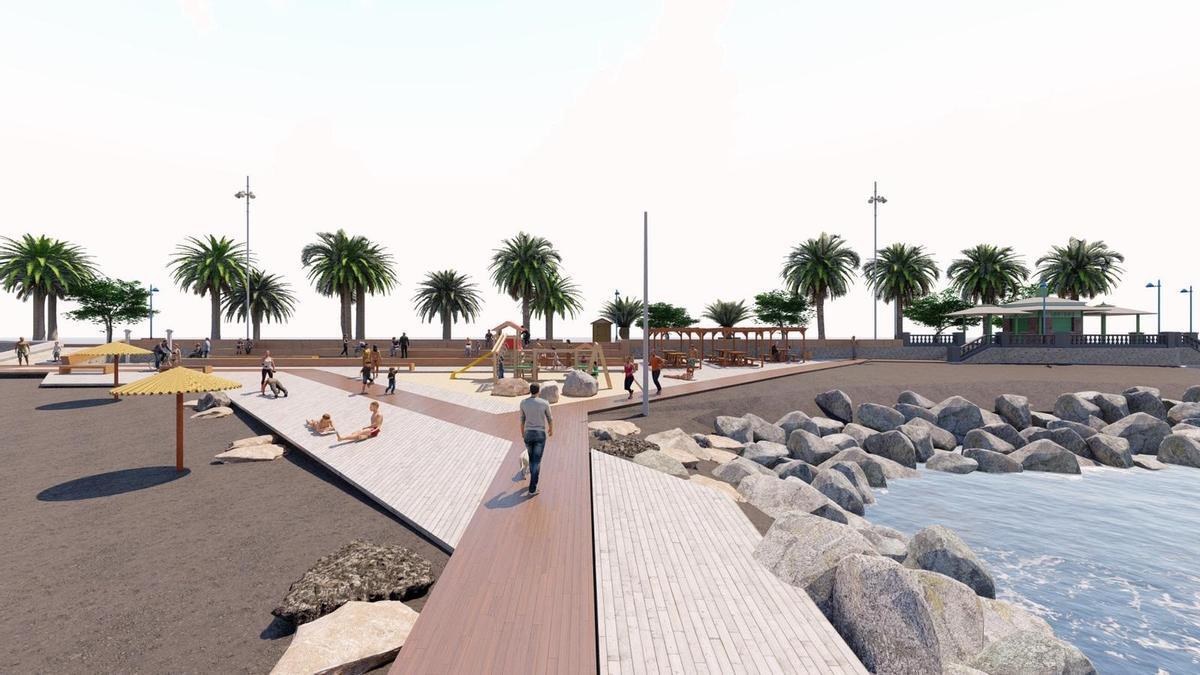 Infografía en la que se muestra cómo quedará el paseo de la playa de La Punta.