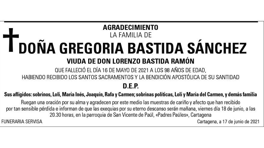 Dª Gregoria Bastida Sánchez