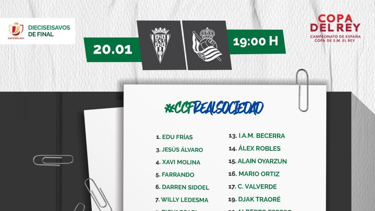 Salido, el descarte en la convocatoria del Córdoba ante la Real Sociedad
