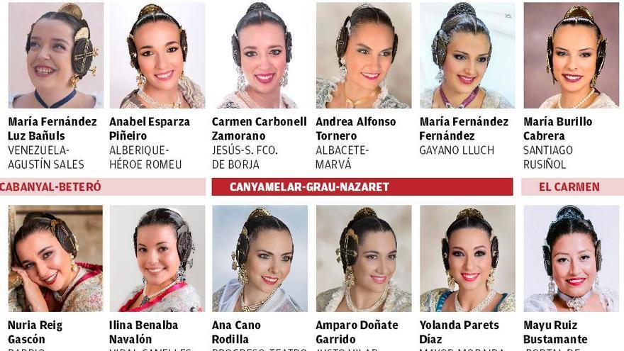 El lunes 13, en Levante-EMV, doble página con las candidatas a falleras mayores de València