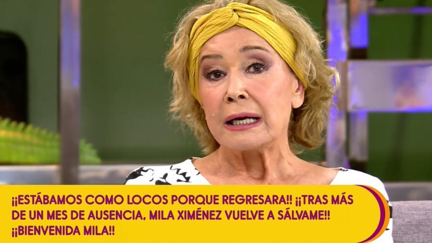 """Mila Ximénez vuelve a 'Sálvame' y habla de su cáncer: """"Se ha complicado"""""""