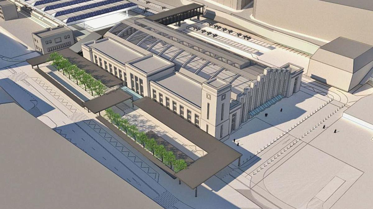 Imagen virtual de la estación intermodal, con la pasarela peatonal al fondo del edificio. |   // LA OPINIÓN