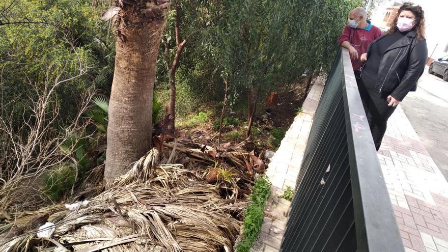 El talud de Los Prados: troncos y basura a su suerte
