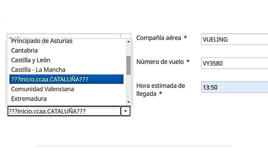 La web del Govern no permite hacer el formulario covid si vuelas desde Cataluña