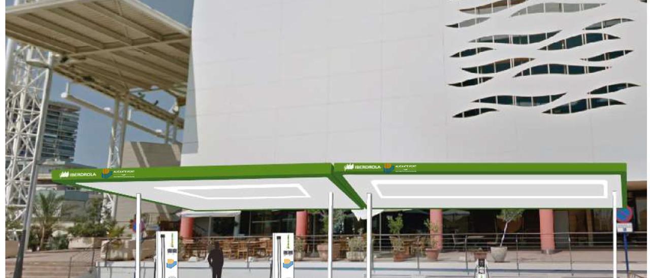 Recreación virtual de los puestos de recarga para los coches eléctricos