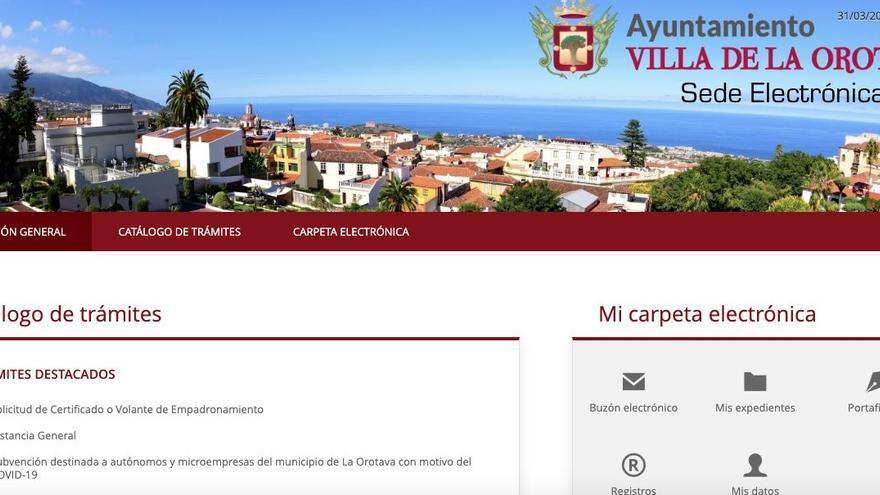 La sede electrónica de La Orotava ya permite realizar 40 procedimientos en línea