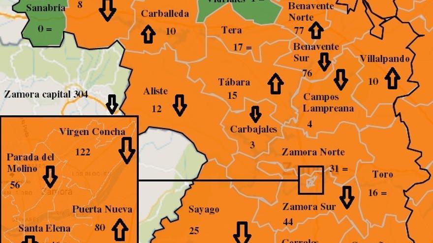 Mapa COVID de Zamora: disminuyen los contagios en buena parte de la provincia