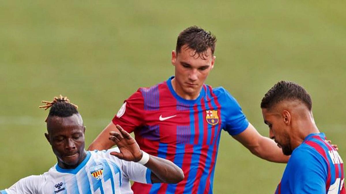 Moussa, durant el partit d'ahir entre el Barça B i el Costa Brava al Johan Cruyff