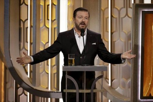 Handout photo of Ricky Gervais hosting the 73rd Golden Globe Awards in Beverly Hills