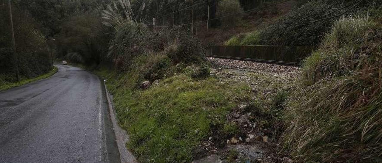 Carretera de El Agüil a Coto Carcedo. A la derecha, la vía de Feve.