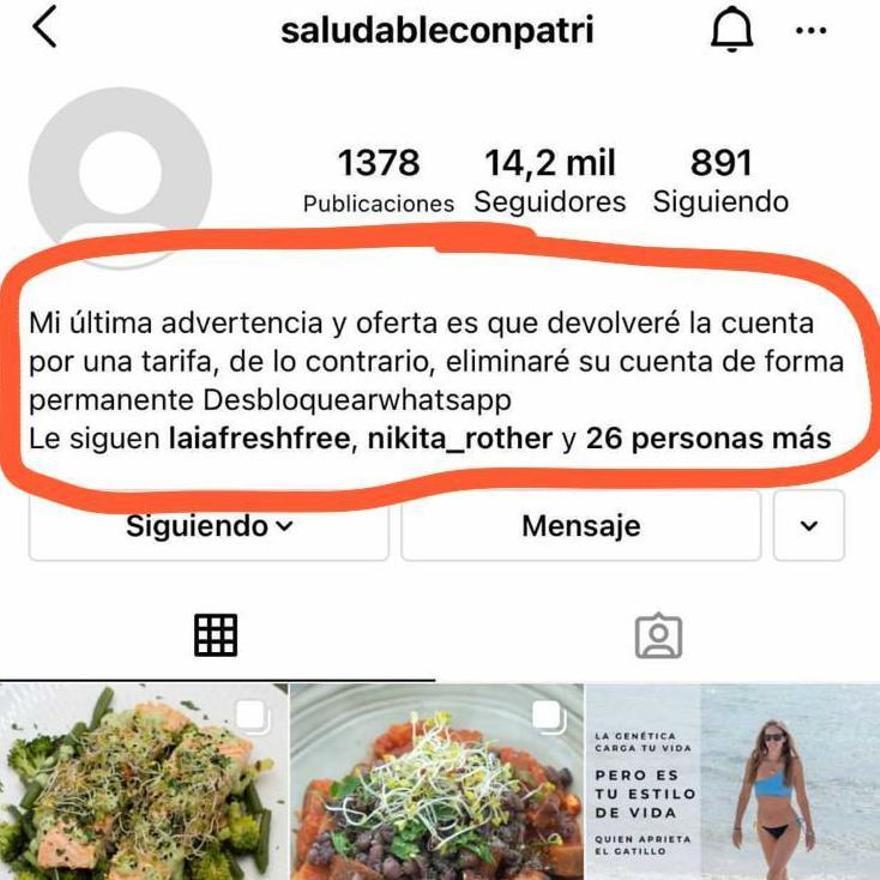 Mensaje de los hackers en el que se exige a la afectada a que pague si quiere recupera su cuenta de Instagram
