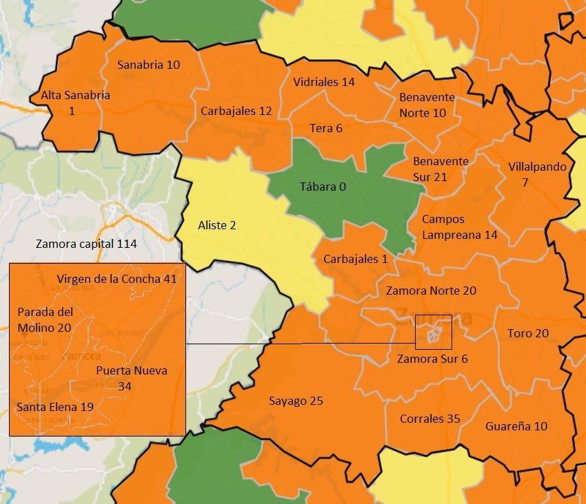 Mapa de contagios COVID en la última semana, por zonas básicas de salud