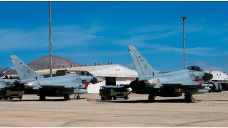 Eurofighter del Ala 11 en el Aeródromo Militar de Lanzarote