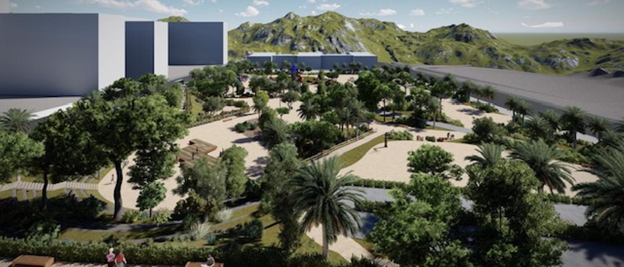 Recreación del futuro parque público del PAU2