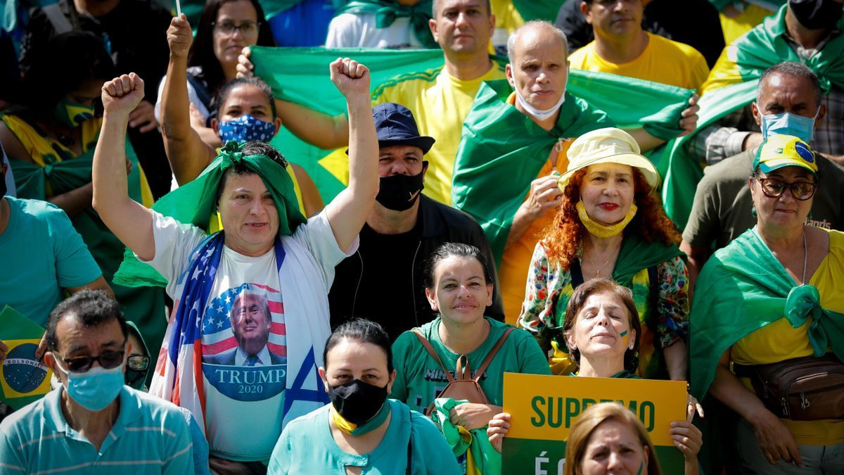 Una de las marchas a favor de Bolsonaro