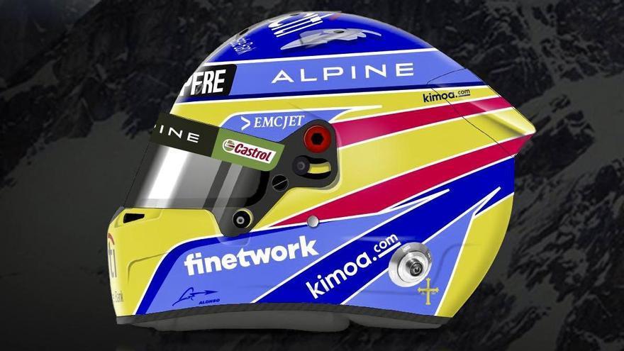 El piloto asturiano de Fórmula 1 Fernando Alonso presenta su nuevo casco, que recuerda al de sus títulos de campeón del Mundo