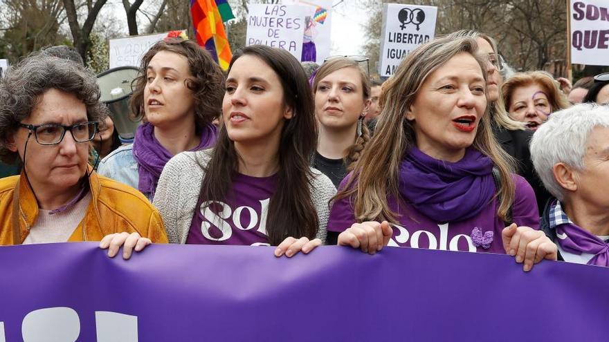 La ministra de Igualdad, Irene Montero, en la manifestación del 8-M.