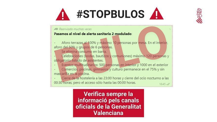 La Generalitat desmiente un bulo sobre las nuevas restricciones de la Comunidad Valenciana
