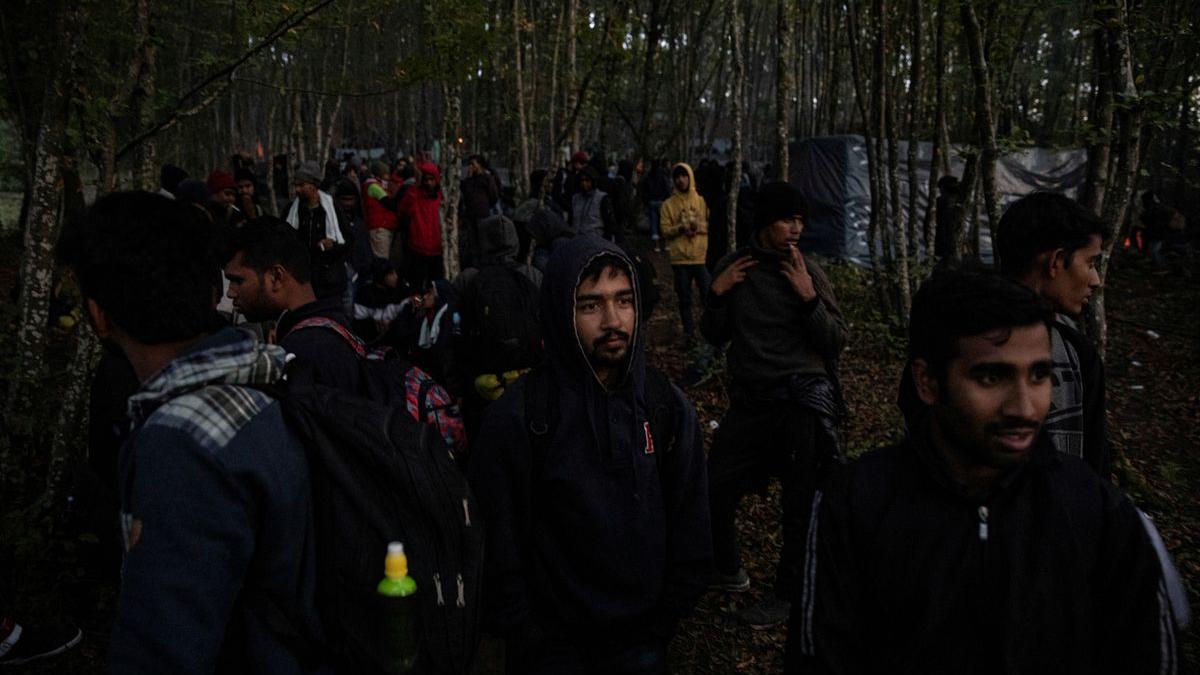 Un grupo de migrantes se reúne en un bosque de Bosnia para intentar cruzar a Croacia, el pasado 29 de septiembre