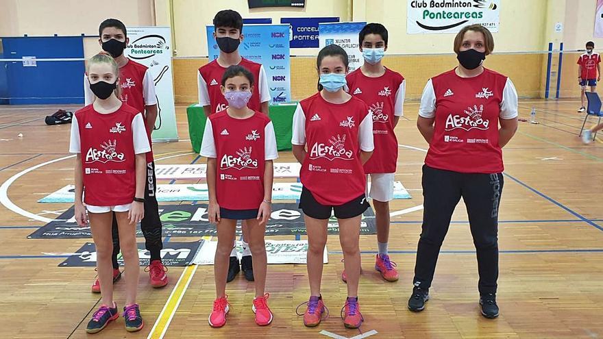 El Bádminton A Estrada se cuelga la plata en el Campeonato Gallego Sub15