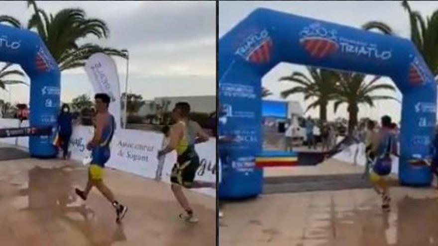 Un corredor de Benitatxell pierde el Triatlón de Sagunto por celebrar la victoria antes de tiempo