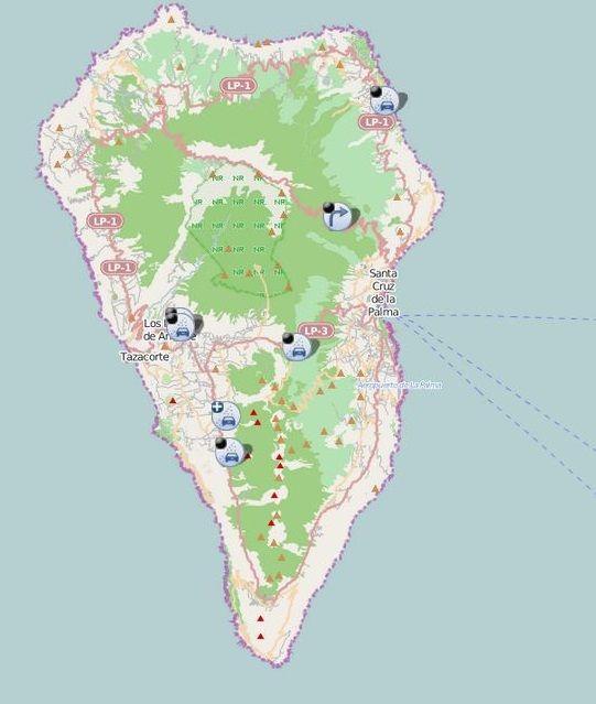 Mapa de las carreteras cerradas por la erupción de La Palma