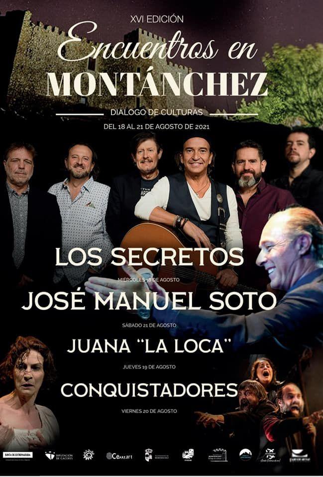 Cartel con las actuaciones de Los Encuentros en Montánchez. Diálogos de Cultura.