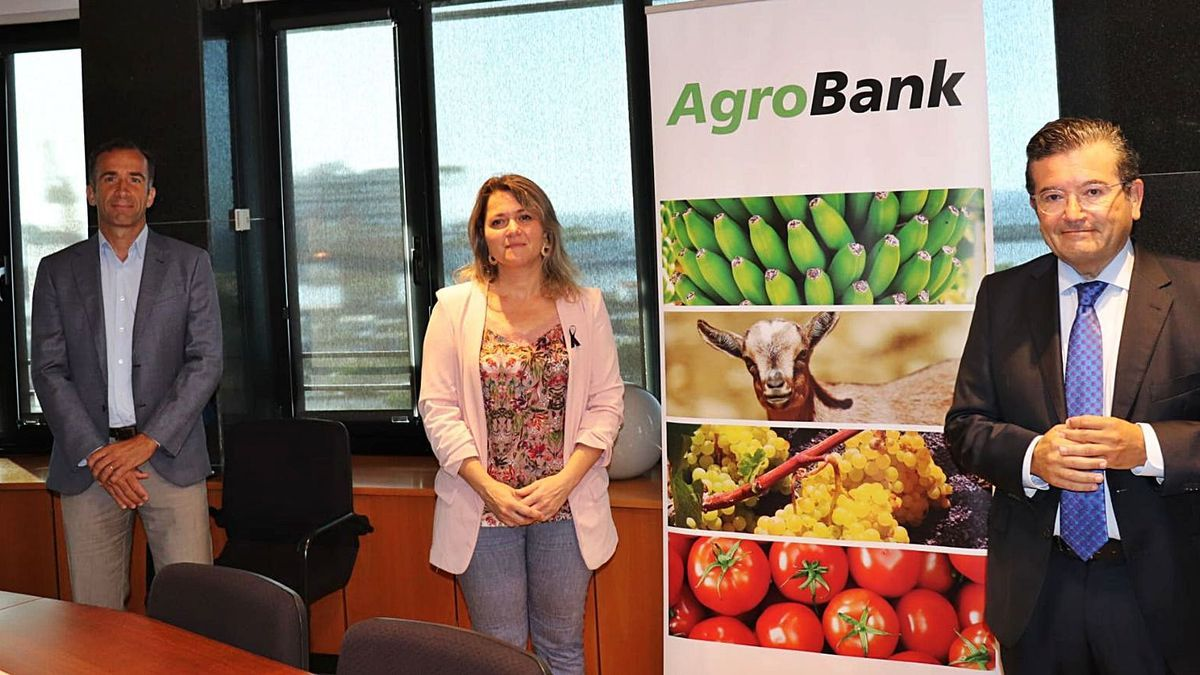 Álvaro de la Bárcena, Alicia Vanoostende y Juan Ramón Fuertes, durante una presentación de AgroBank celebrada el pasado año.     E.D.