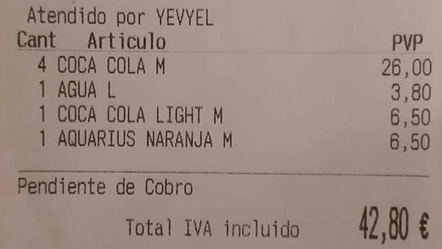 42,80 euros por seis refrescos y una botella de agua