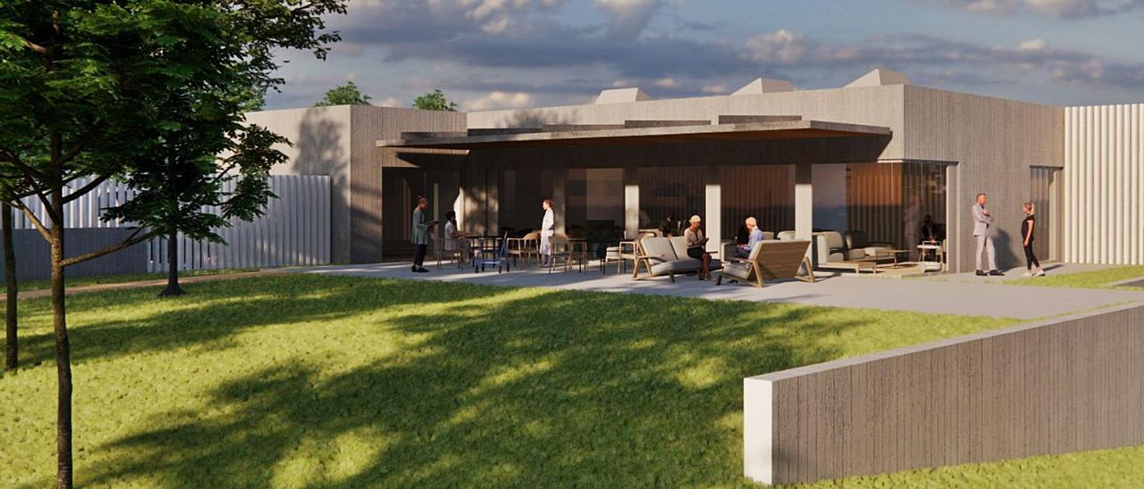 Infografía que muestra el nuevo centro de mayores que proyecta la Comunidad de Montes de Torroso.     // D.P.