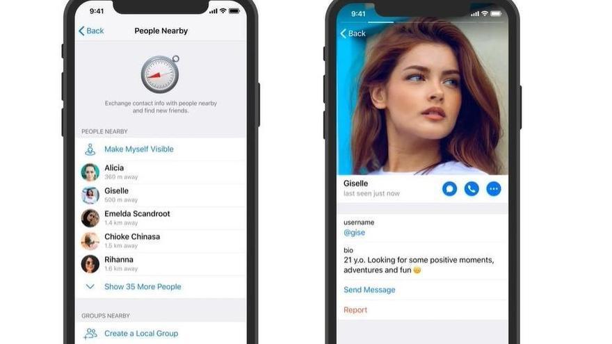 Telegram permite ver los perfiles de personas cercanas