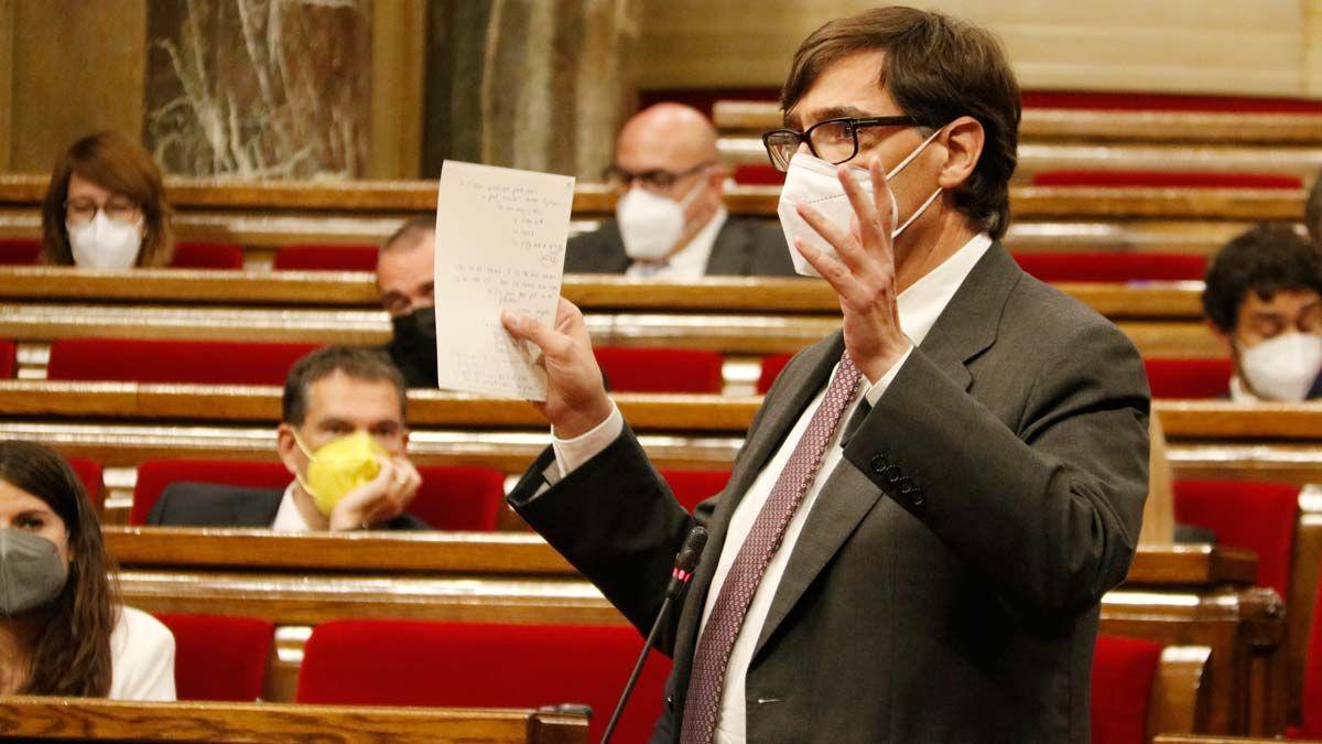 Salvador Illa en el Parlament.