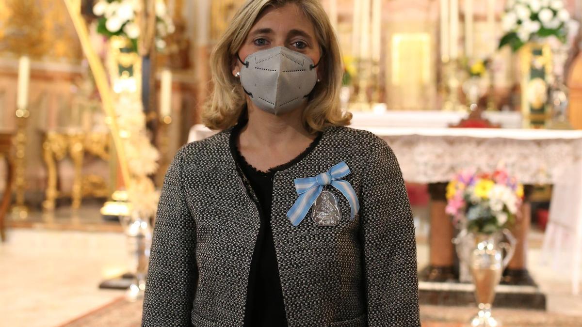 Sandra Alberich, presidenta de la Junta de Camareras, en un acto en la Basílica.