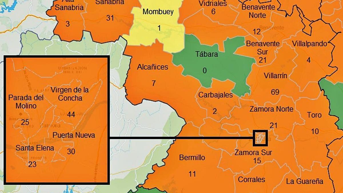 Mapa de contagios en la última semana por zonas básicas de salud. | JCyL